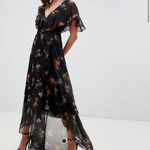 ASOS Maxi Dress with Cape Back and Dipped Hem